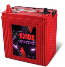 Exide Matrix Four Wheeler Batteries Exide Matrix Four Wheeler Batteries Dealer Exide Matrix Four Wheeler Batteries Retailer Laxmi Motor is well know name and top most players to sell Exide Batteries. Exide is a leading name in the Automotive Batteries , Exide Matrix four wheeler Batteries is Maintenance-free batteries with advanced Ca - Ca system, Long wet shelf life - no freshening charge required for up to 6 months from date of manufacture, Special paste formulation for positive and negative plates - higher life expectancy with superior charge acceptance in service, Double-clad polyethylene and glass mat separation - high reliability and longer life, Special Omega type cover design fitted with Venturi type chamber cover - excellent spill-resistant characteristics, Attractive cosmetics.