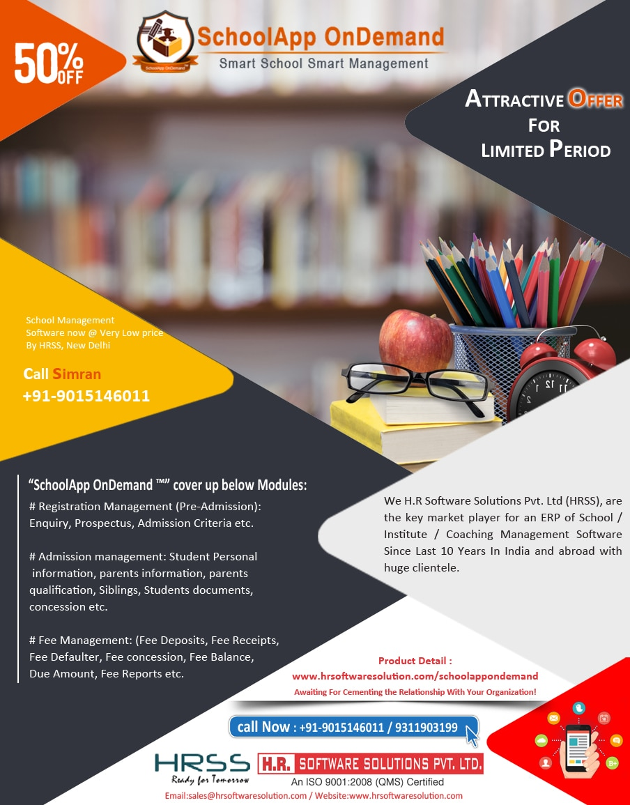 H.R. Software Solutions Pvt. Ltd. is a leading pioneer of School Software which has always offered advanced and innovative solutions to its respectable business clients. Our designed applications are simple, flexible, and easy to operate and demands little maintenance.