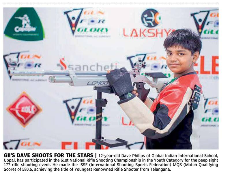 Dave Phillips from GFG Secunderabad centre became the youngest Renowned Shot Rifle Shooter from the state of Telangana after his commendable performance at 61st NSCC.  We would like to wish him the best for future.