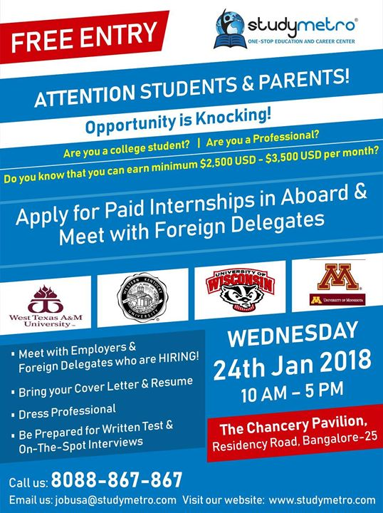 Opportunity is Knocking! Apply for Paid Internships in abroad and meet with Foreign Delegates......  Register here: http://ow.ly/fOib30hQLex