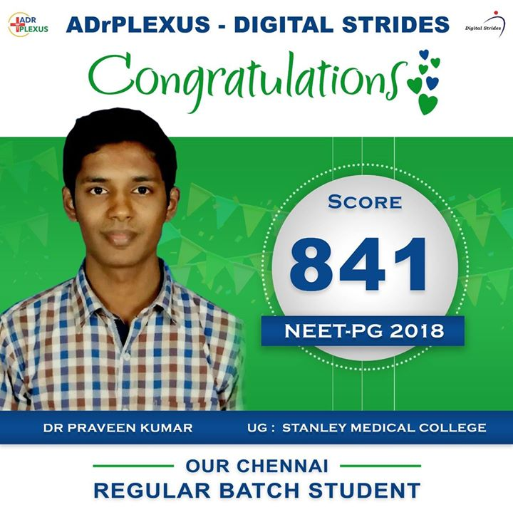 ADrPlexus Digital Strides salutes Dr Praveen Kumar ( UG : Stanley Medical College ) for getting a SCORE of 841 in NEET-PG 2018 For more info visit us at http://adrplexus.nowfloats.com/ADrPlexus-Digital-Strides-salutes-Dr-Praveen-Kumar-UG-Stanley-Medical-College-for-getting-a-SCORE-of-841-in-NEET-PG-2018/b325