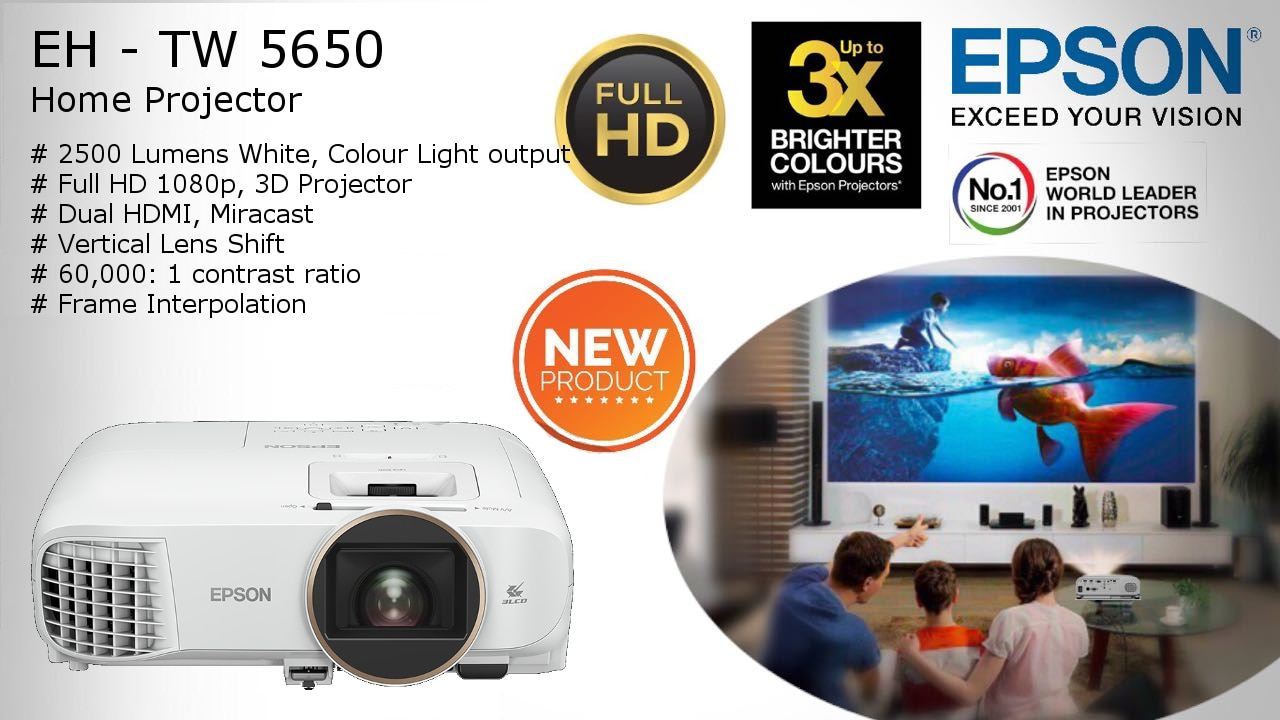 New Product launch from Epson.  Epson EH TW5650 Projector with 1080p Resolution!!!  2500 ansi lumens brightmess, Frame interpolation,  Stunning 60, 000:1 contrast ratio, Wireless ready!!! Contact us at Viewtech Hyderabad for more details.  We at Viewtech are the authorized Epson Projector dealers.