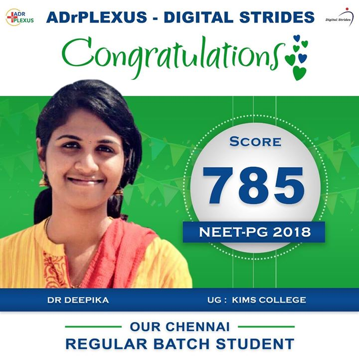 ADrPlexus Digital Strides Salutes Dr Deepika Ramakrishnan for Securing a Score off 785 ( UG : Karpaga Vinayaga Institute Of Medical Sciences And Research Centre )