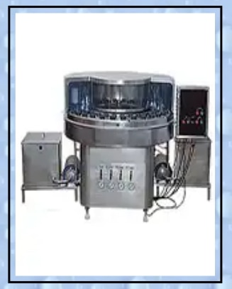 Washing (Rotary Bottle Washing Machine)  SALIENT FEATURES:  Machine suitable for various types of round and flat bottles and other type of containers  All contact p arts are made from SS-304 material meets CGMP norms  Water re-cycling arrangement is possible as per customer's needs  Machine with indexing device mechanism  Geneva-cm mechanism drive  Various type of spray zones in machine (outside & inside)  SS tanks & pump provided with the machine  Semi automatic machine-manual loading and unloading