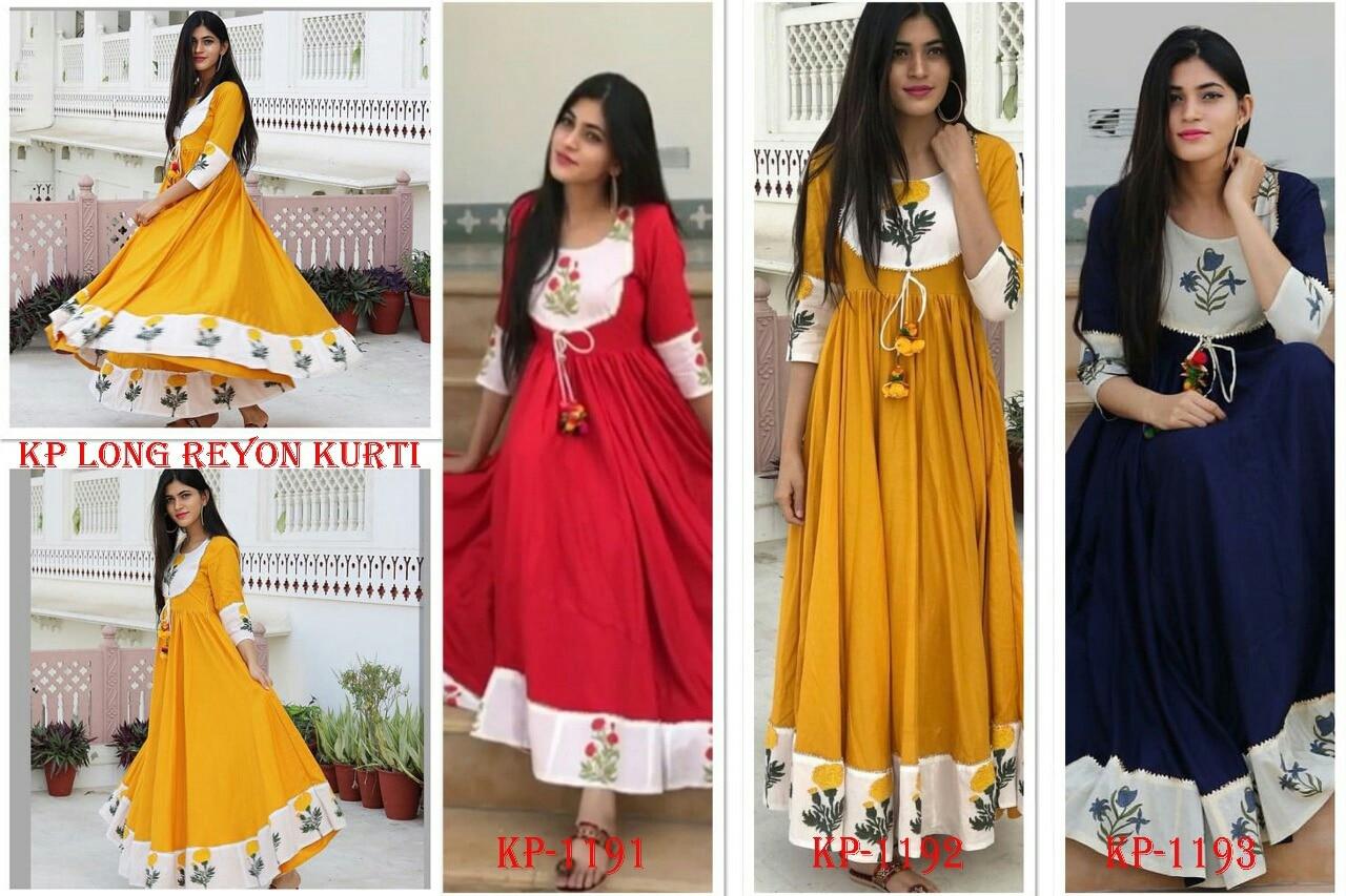 Reyon cotton fancy printed Kurtis