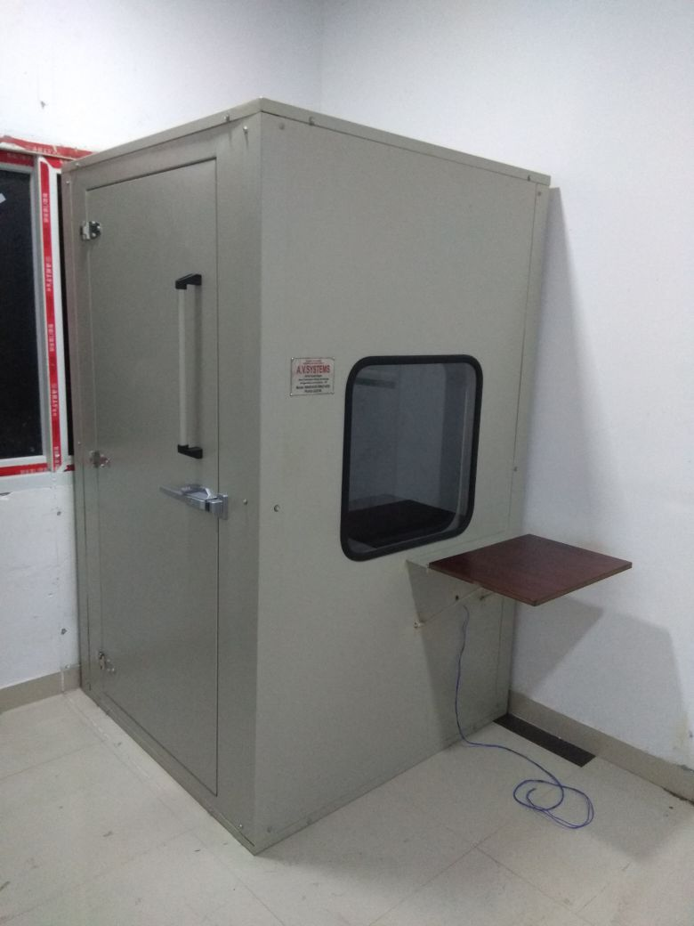 "Audio Booth  Specification: Large doors for easy double acoustic window Unitized all weld construction carpeting  vibration   2"" thick overlapping door Window – 23"" x 23"" (584 x 584mm) Audio Booth in Coimbatore Audio Booth in Chennai Audio Booth in Kerala Audio Booth in Bangalore"