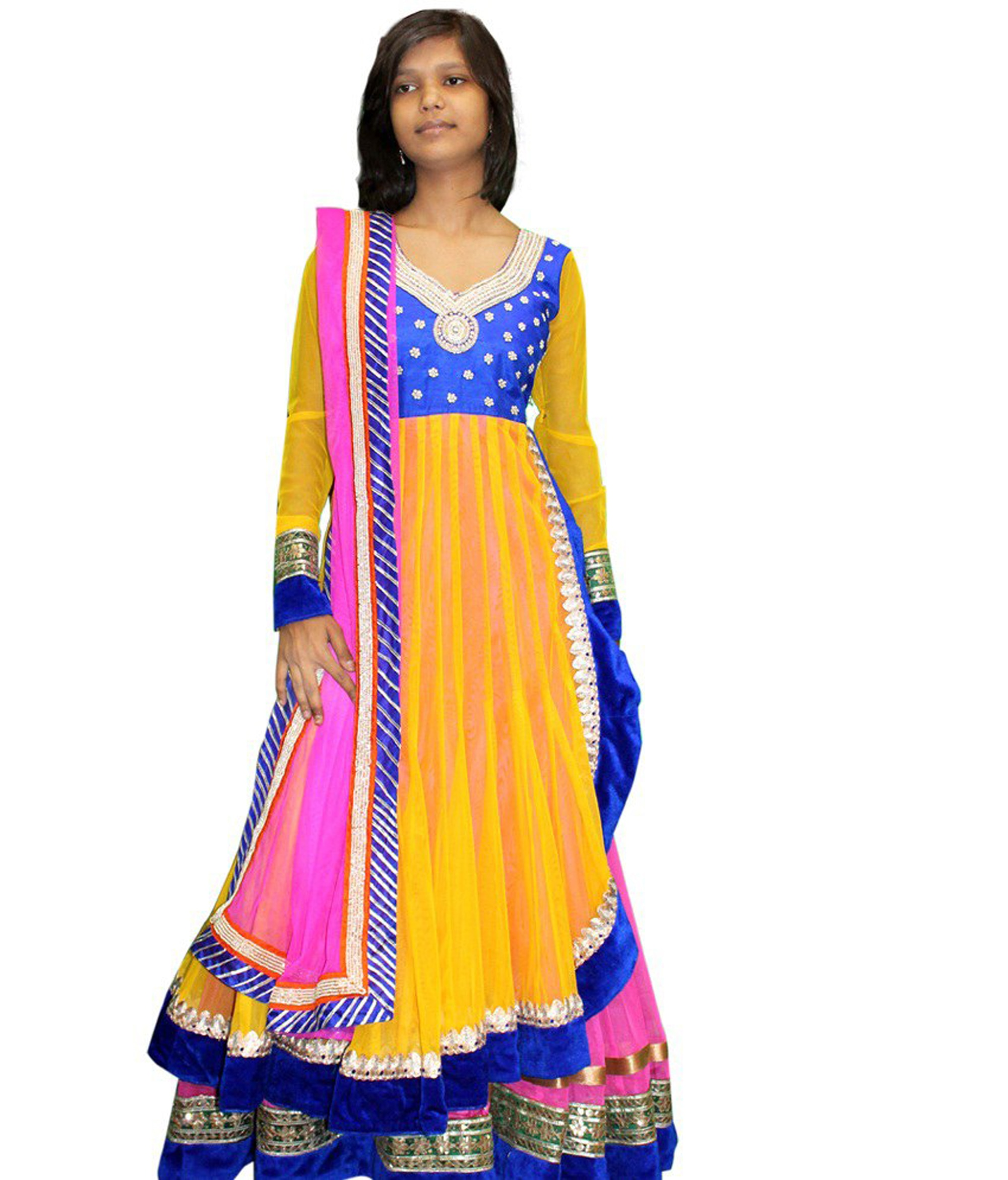 An absolute stunner from the house of panisha handcrafted designer wear  comes to you in the form of this rich yellow and royal blue coloured indowestern . Inspired from traditional handwork all over the blouse , this double layered indowestern with designer handcrafted  lehenga flared outfit with a designer pink dupatta with handwork all over it  adds a touch of class to your wardrobe.Perfect when worn with some antique silver jewellery. whatsapp no - 9530053233 plot no 13 opposite cazri main gate iti road jodhpur
