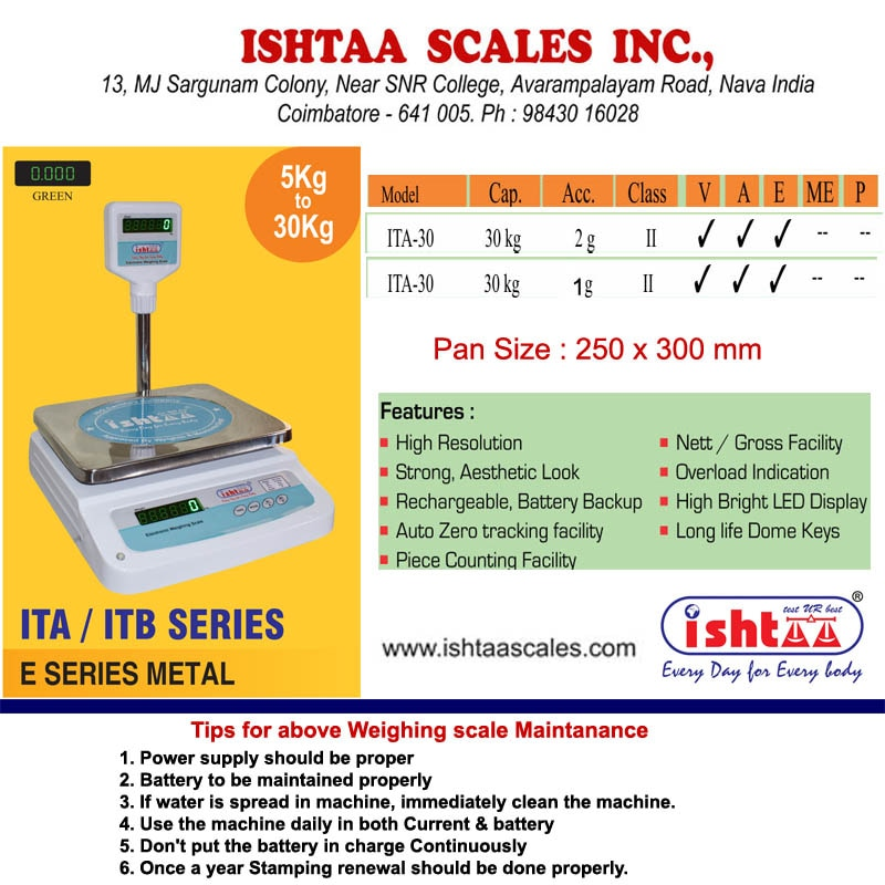 ISHTAA - Best Table Top Scale Manufacturers in South India.   ITB – E Series Application : High resolution with fast response time Metal body with dust cover weighing scale Strong, Aesthetic look & finishing Rechargeable battery backup Auto zero tracking facility Nett / Gross facility Overload Indication High bright LED display  #Parcelweighingscale #Dairyunitsweighingscale #Meatsweighingscale #Groceryweighingscale #Fruits& vegetableweighingscale #Vegetableweighingscale #Piececountingweighingscale #hardwareshopweighingscale #IshtaaWeighing #Ishtaa #Scales #Weighing  To Know more Click here : https://goo.gl/tsj24h To Buy Now, Call: 09843016028