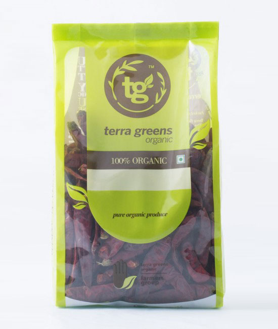 Red Chilly Whole  Terra Greens Organic Red Chilly is free from unwanted impurities, rich in aroma and taste and have a pungent smell and a spicy taste and is extensively used as an additive in various cuisines.