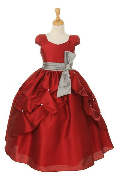 Red Satin Party Wear Designer Children Gown At Fabloon Boutique And Designer Tailors Vadapalani   Red Frock Satin Gown Designer Wear party Kids Frock