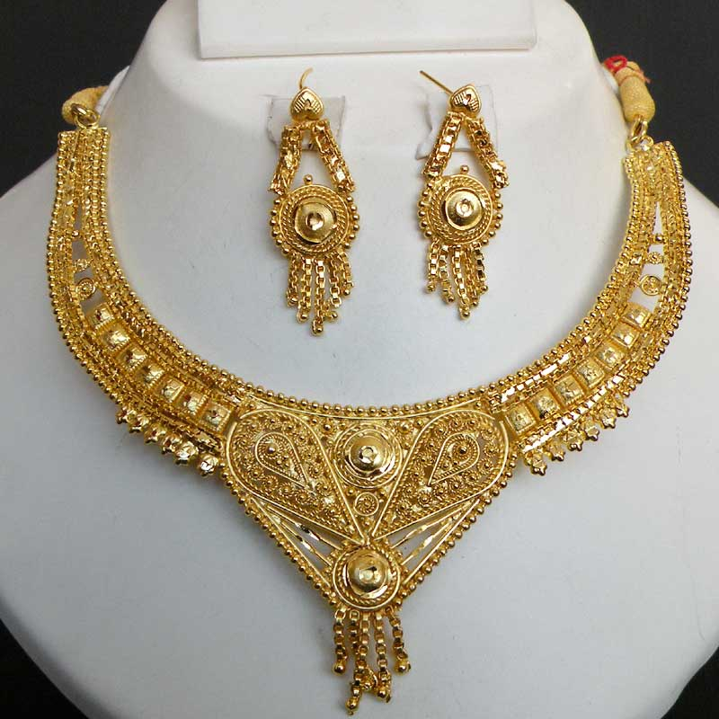 Indian 22k Gold Plated Wedding Necklace Earrings Jewelry: Indian 22k Gold Jewelry Manufacturers
