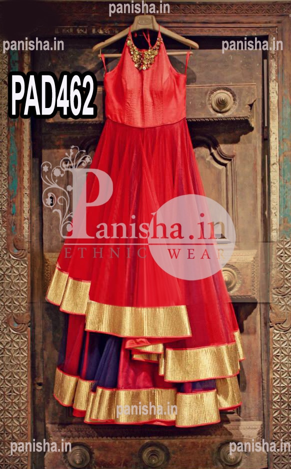 Multi Flair Gown with Multi Colour Floor Length Designer PARTY WEAR GOWN .yes panisha presents Handcrafted DESIGNER multi layer gown for your party occasions a lightweight rich  fabric with a simple and royal look multi colour gown for D'Day .also handwork on the peti of the gown with moti and kundan work on the neck . PANISHA WHOLESALE PANISHA RETAILS  PANISHA  FRANCHISE