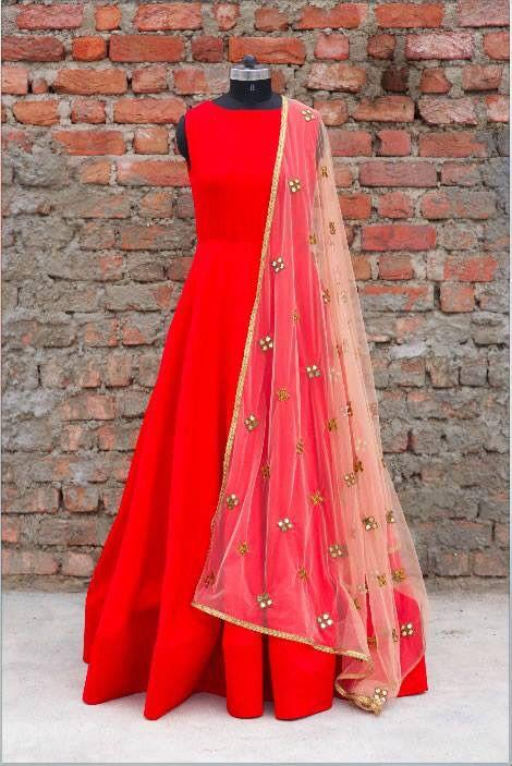 Red Sleeveless Designer Party Wear Full Length Gown At Fabloon Boutique And Designer Tailoring Vadapalani    Full Length Gown Gown And Frock For Womens Party Wear Frocks Designer Frock And Gown