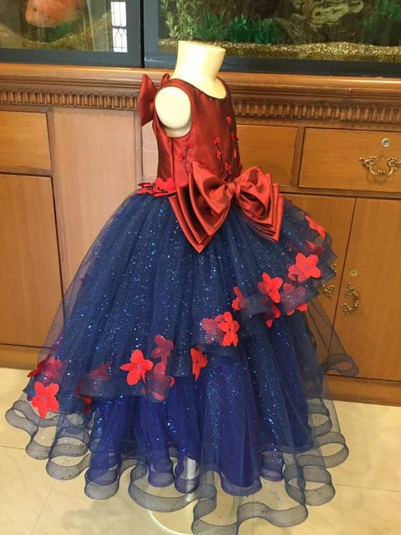 Red And Navy Blue Sleeveless Party Wear Kids Frock At Fabloon Fashion Boutique And Designer Tailoring  Con:9962544411, 9962533300   Party Wear Kids Frock  Kids Frock Designer Tailors  kids Gown And Frock Boutique  Frock Stitching For Kids
