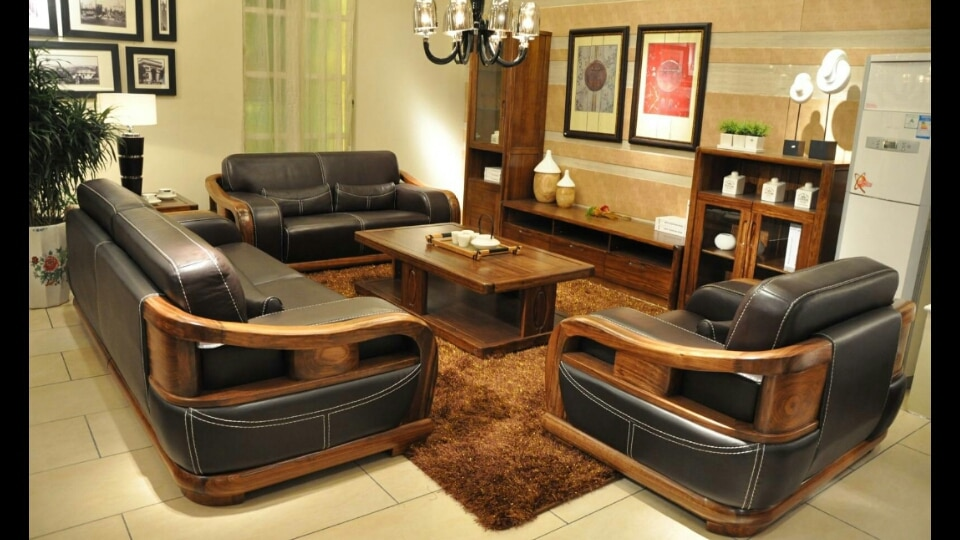 update image not found. Wooden Sofa set made ... & Wooden Sofa set made of Teak Wood with Natu : CG World Furniture