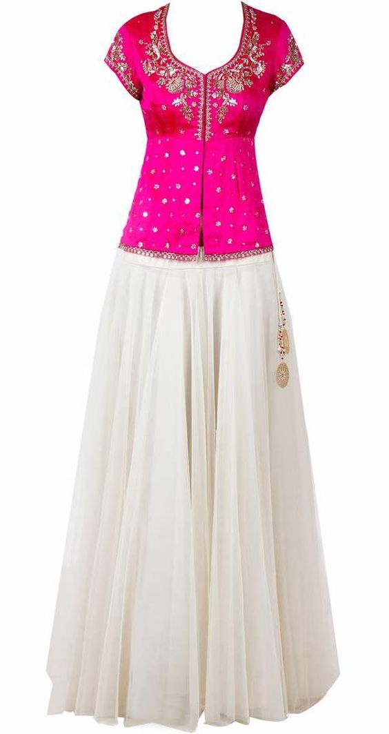 SUMMER on the mark PANISHA present another piece of art DESIGNER ETHNIC TRADITIONAL HANDCRAFTED LEHNGA CUM INDOWESTERN CUM CROP TOP SKIRT this rich class designer wear consist of PURE GOTA WORK ON KURTI WITH MARODI AND KUNDAN WORK MAKE IT ELEGANT AND  RICH CLASS SMOOTH COLOUR WHITE AND RANI PINK MAKE IT MORE COOL AS PER THE SEASON  SO PEOPLE FOR MORE DESIGNS VISIT OUR STORE OR BOOK AN APPOINTMENT FOR YOUR UPCOMING FESTIVAL AND WEDDING SEASONS