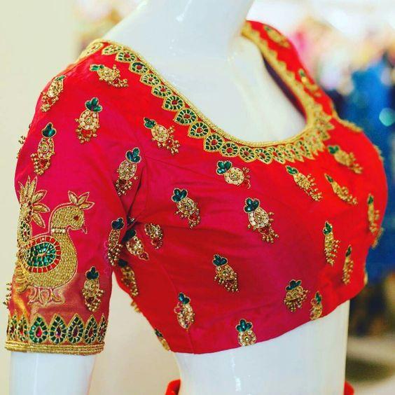 Red Zari Work Designer Embroidery Blouse At Fabloon Fashion Boutique And Designer Tailoring    bridal blouse ladies tailors in chennai bridal boutique near koyembedu Wedding blouse stitching
