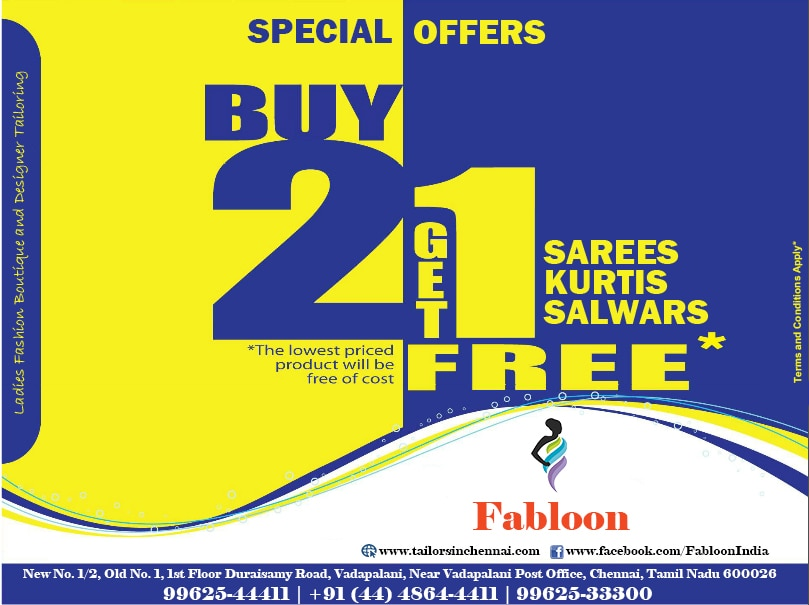 Fabloon Boutique Buy 2 Get 1 Free Special Offer!  Buy 2 sarees, salwars or Kurtis and you get 1 free!