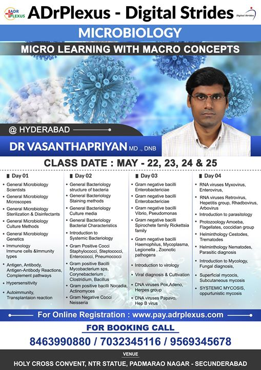 Hyderabad : Microbiology Class by  Dr Vasantha Priyan - May 22 - 25 To register : http://pay.adrplexus.com/product/dr-vasanth-priyan-microbiology-class-chennai/