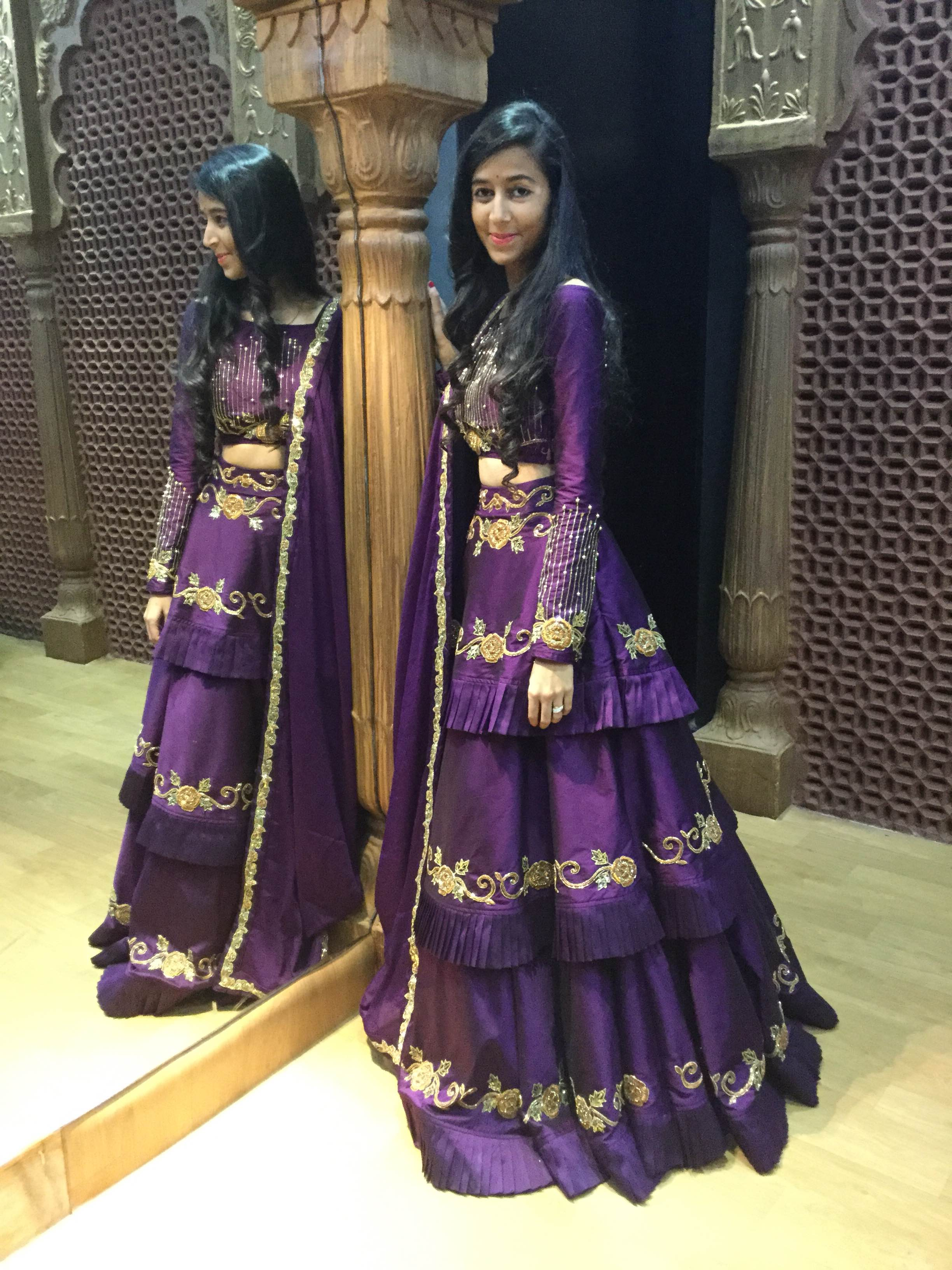 Designer Ethnic Indowestern Lehenga  This beautiful purple grape wine colour multiflair multilayer skirt Lehenga cum indowestern give u a different traditional cum retro look with zardozzi handwork in each layer and a designer blouse pattern with full sleeves and a Dupatta with handwork all over the Dupatta