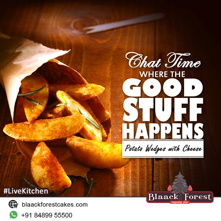 Chat time happens when the good stuff happens!!! taste the potato wedges served with cheese sauce from the Blaack Forest