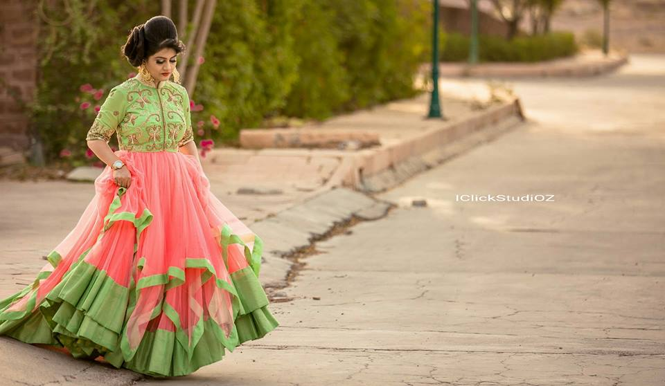Indian Ethnic Wear  Designer Ethnic Wear  Ethnic Wear Designer  Women Ethnic Wear  Boutique For Ladies  Handwork Dresses This beautiful handcrafted fairy triple layer soft georgette net gown with handwork on the top and sleeves make it look a complete partywear gown and the combination of pink and green colour make it a indian style attire .