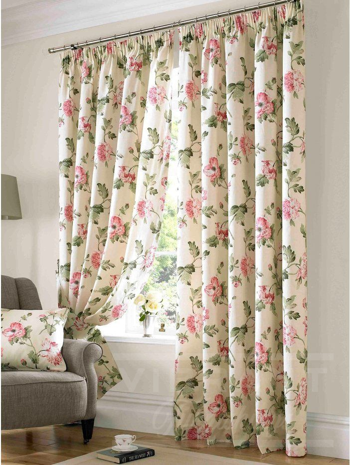 Stunning Floral Curtains With Pink Peonies Bonsai In Living Room Are Elegant And