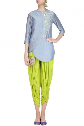Designer Ethnic Wear  Women Designer Wear  Designer Kurtis Designer Dhoti Dress Traditional Designer Partywear Dress   Another beautiful retro indo traditional dhoti cum patiala dress with kurti cum peplum top cum jacket   of grey and yellow combination make a great fusion of indian cum retro cum western look .and can be easily wearable in traditional functions and also in fusion parties as well do grab the deal for the most stylish outfit of the town .