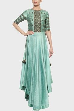 Handicraft Embroidery Marketplace yes you all read it right now people u can customize your dream dress in any design and in any colour  also u can choose the handwork u all want to implies on your dress . soft colour hand work designer kurti cum floor length gown with handcrafted work all over the top and sleeves make it more party cum traditional cum retro look