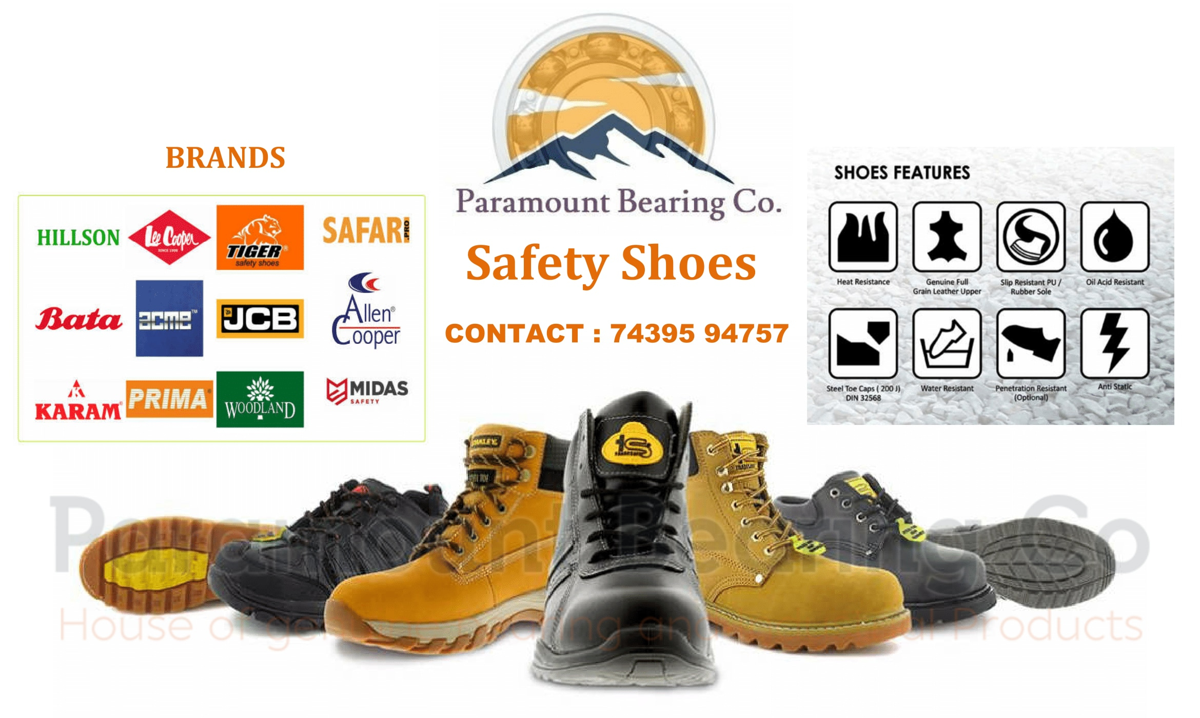 Safety Shoes Available :- Brands : Bata, Lee | SKF BEARING