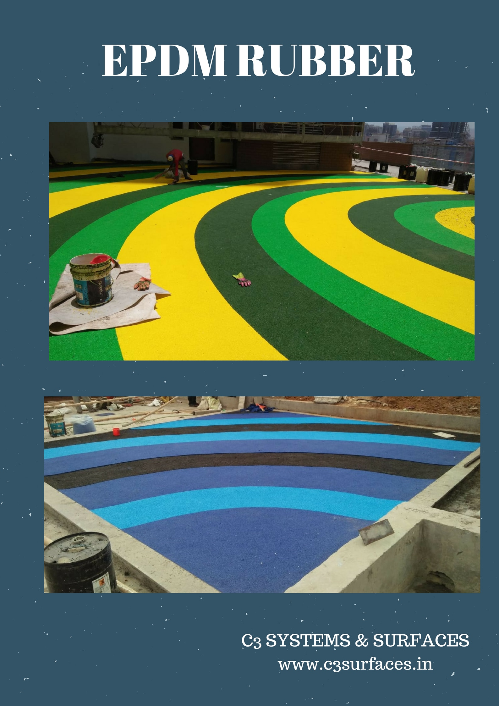 Work underway of play area surface at Adani Group's prestigious project in the prime suburbs of Mumbai. The surface is EPDM Rubber. This surface ensures practically no injury and safe play for the young ones.