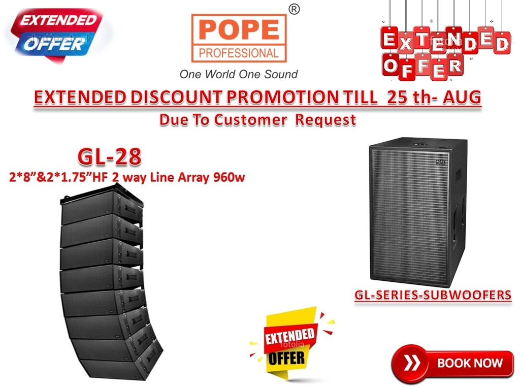 The POPE Professional® GL-24B is the loudest, deepest and most powerful folded horn Sub-woofer. It's superlative design and excellent features makes it ideal for use in the most challenging scenarios where strong bass is needed, such as Live Sound, Installations, Large Venues, Mobile DJ's and Club applications. Featuring a massive 24