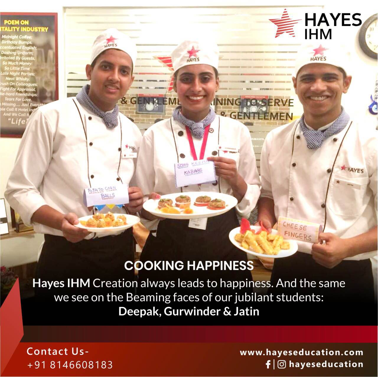 Creation always leads to happines. And the same we see on the Beaming faces of our jubilant students : Deepak, Gurwinder & Jatin It's their Eureka moment when they are excited to present the appetisers dished out and plated by them.  Cheers to these sumptuous cheese fingers soya keema Kababs and potato Cheese corn roll  Hayes Ihm  chandigarh hotel management course