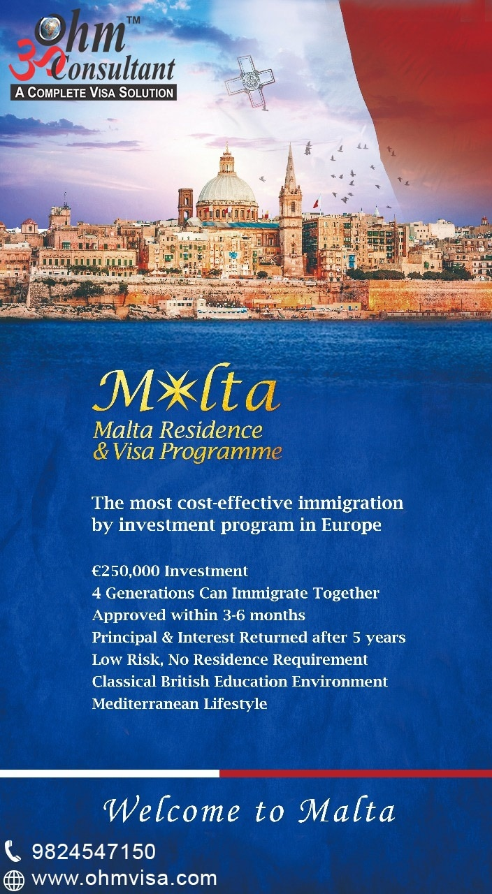 Settle in Europe with family by investing in Malta.  Are you thinking of settling to Malta (Europe – Schengen) with family? Malta is offering European Immigration via Investment Programs. Get PR in 4 to 10 months. Permanent Residence is open to everyone who can invest approx Rs. 2 crore or higher. For detailed information call us on 9824547150 / 8140040002.