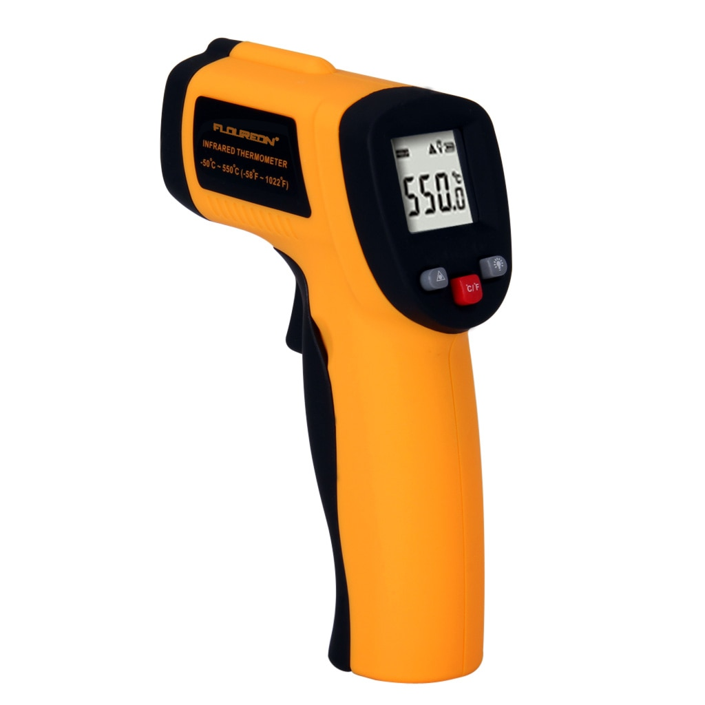 INFRARED HANDLED THERMOMETER WITH GUN SHAPE -50~550 C  Specification Temperature range : -50~550°c(-58~1022°f)Accuracy : ±2%or±2°c(2.7°f)Distance spot ratio : 12:1Emissivity : 0.95 pre-setResolution : 0.1°c or 0.1°fResponse time & wavelength : 500ms & (8-14)umRepeatability : ±1%or±0.1°c(1.8°f)°c/°f selection : yesData hold function : yesLaser target pointer selection :  yesBacklight display selection : yesAuto power shut off : yesLow battery indication : yesOrigin : gaby instrumentsDelivery : immediate
