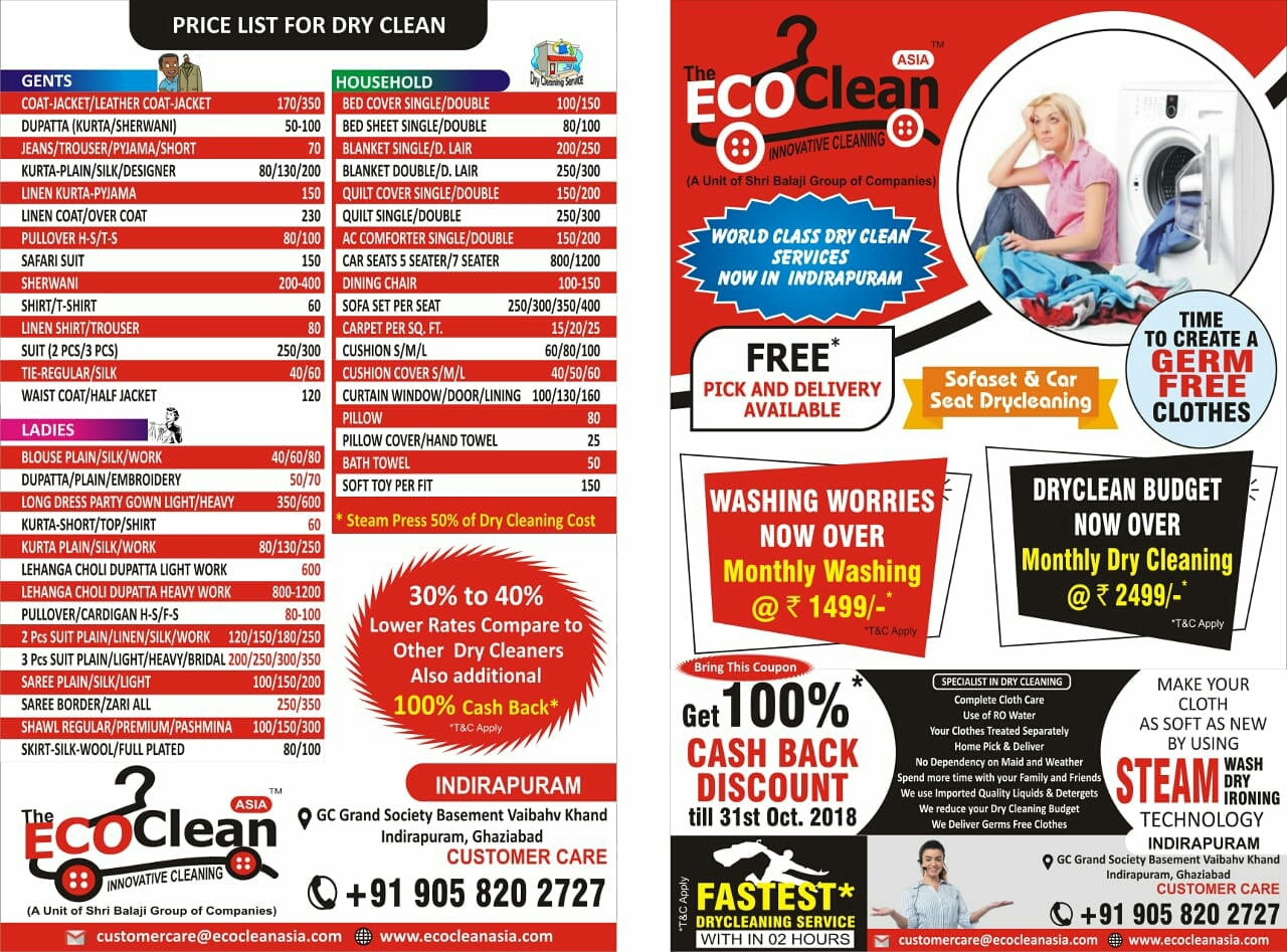 Eco Clean Asia Dry Cleaners Call 905820 | Eco Clean Dry Cleaner The Best Dry Cleaner in Indirapuram Ghaziabad Dry Clean near me Dry Cleaning