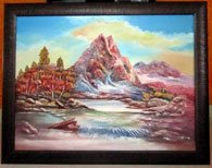 This is a clay painting done by Artist Muralidhar using a special clay. This painting - A Landscape, is a result of clay on canvas and acrylic colors - by Muralidhar Art Gallery & Institute, Hyderabad