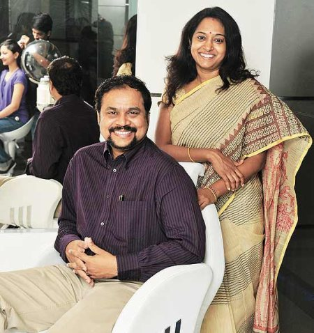 Creating a Beautiful World! Naturals was established a decade ago, with a dream to change not just the way people looked but to add ample positivity in their attitude to life! Veena K, Founder and her husband C.K Kumaravel, CEO & Co-founder - by Naturals Salon - N M Road, Chennai, Chennai
