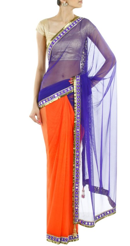 Lovely combination of a half and half saree - by Zaina Boutique, Hyderabad