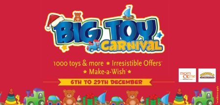 Big Toy Carnival is ON in all our Mom & Me stores. Loads of Toys at irrestible offers of Upto 50% off and over 140 Toy wishes coming true. Offer till 29th Dec 2013. T& C apply - by Mom & Me - Goddhod Road, Surat