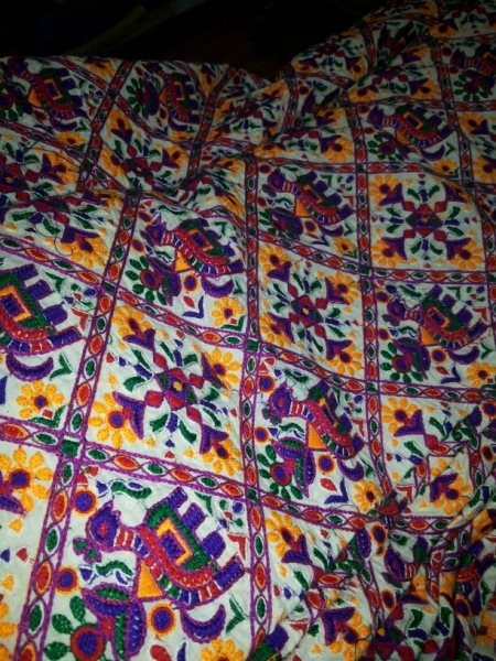 This is fabric of gurrgay work on cotton cloth  .  We can make it to dye toany colour - by Lakahmi Haripriya Fab, Mahabubnagar