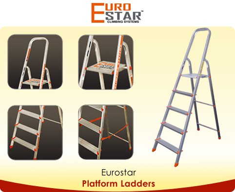 Knee height guard rail for safety  Rails made from aluminium extruded profiles for maximum stability  Wide, comfortable platform with non-slip surface  Front & rear rail strengthened by riveting to each other - no plastic hinges  Wide, deep - by Euro Star, Hyderabad