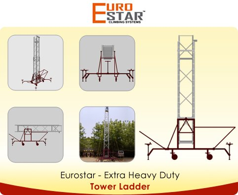 Base frame made M.S rectangular tube. Dimensions: 80 x 40 x 2 mm  Ladder made of special Z type rectangular stile. Square rung thickness: 1.5 mm  Stile of rectangular box section for better rigidity and arrest of sway in extended position   - by Euro Star, Hyderabad