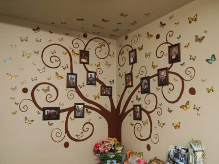 Family Tree Wall Mural Ideas With Chocolate Colors In Soft Brown Wall Painting. Real Photo Wallpaper Applicable for Modern Home. - by Art Gallery, Hyderabad