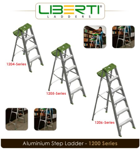 """Ideal for painting, Carpentry and odd jobs  Moulded copolymer utility top to hold tools and a hook to hang a bucket  Wide"""" 3"""" slip resistant Serrated Aluminium steps for safe climbing  Fold down utility tray to hold paint accessories, toolb - by Liberti Ladders, Hyderabad"""