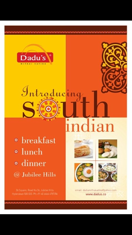 Introducing South Indian Breakfast now at Dadu's Jharokha, 36 Jubilee hills ! Starts at 8am (all days) - by Dadu's Mithai Vatika, Hyderabad