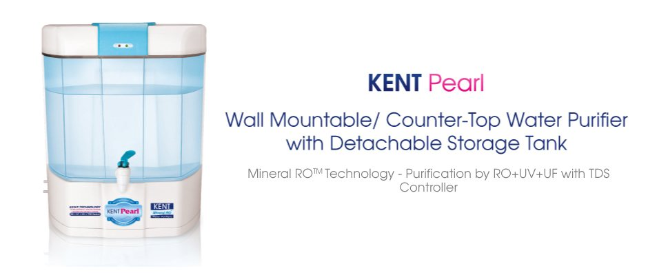 KENT PEARL 1.Transparent and Detachable Storage Tan 2.Double purification by RO + UV + UF with TDS controller 3.Removes even Dissolved Impurities while retaining Essential Minerals 4.NSF & WQA Gold Seal Certified 5.Equally suitable for wate - by Serene Enterprises, Hyderabad
