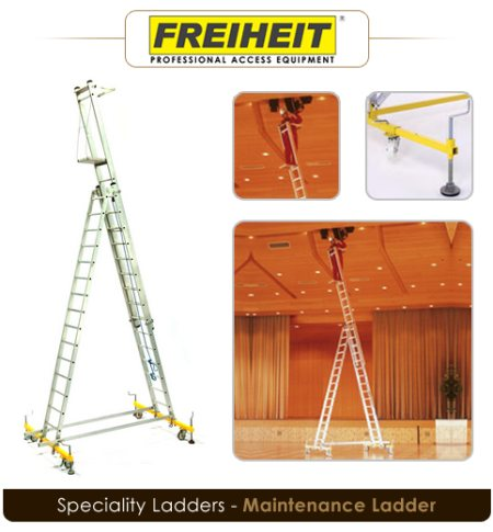 The safe working tool for free-standing applications at great heights.   Height of top section can be adjusted with a rope.  Locks securely thanks to automatic spring-loaded pawls.  Stiles made from tubular box sections.  Guides with plasti - by Freheit Skytech - Sagar Asia Private Limited, Hyderabad