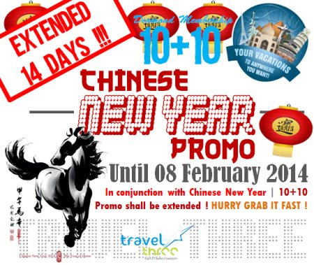 In Conjuction for Chinese New Year Celebration | We are glad to informed you that Diamond Promo 10+10 shall be Extended for 14 Days !!! Enjoy this amazing opportunity | Join Diamond ! HURRY GRAB IT FAST !!! - by Travel Three LLC (USA), Wilmington