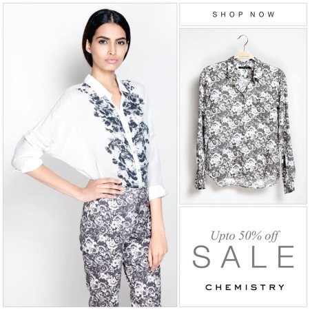 Monochrome florals, with a relaxed batwing sleeve and pretty tea rose placement print on the front. Style up this super versatile blouse with an evening clutch, or tuck into work wear. - by Chemistry - Goregaon East, Mumbai Suburban